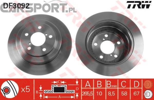 Tarcze hamulcowe TRW do Subaru Forester/Impreza/Legacy 89-98 tył